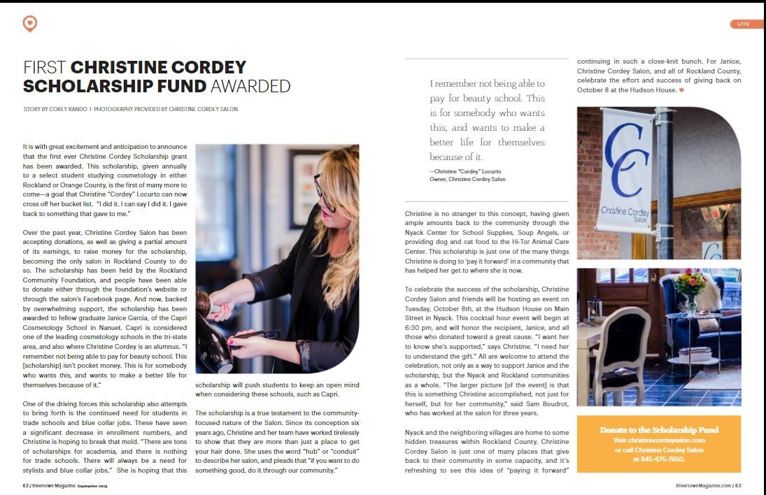 First Christine Cordy Scholarship Fund Awarded